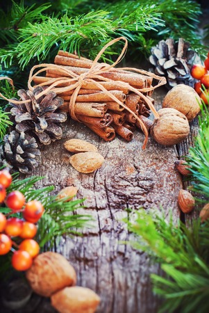 berryes: Christmas Card. Bunch with Cinnamon Sticks tied up by a Rope, Fir Tree, Natural Food on a Wooden Background