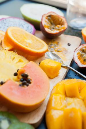 pine  fruit: Stage Preparation Fresh Juice Yellow Orange Tropical Fruits Papaya Pine Apple Mango Passion Fruit Dragon Orange