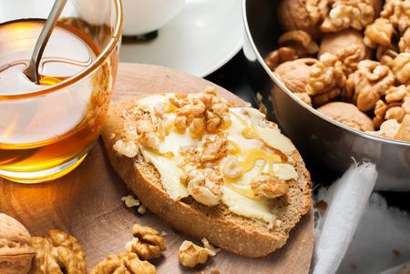 Stil: Useful Breakfast Toast Honey Walnuts to Tea Stil Life Table Healthy Food Stock Photo