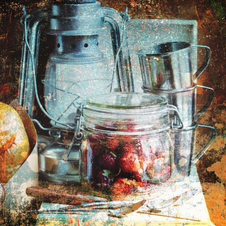 red oil lamp: Country Still life Glass Jar Strawberry Fruits Metal Oil Lamp Cups Vintage Objects Dishes Shabby Effect Stock Photo