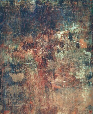 hammered: Old Antique Wooden Plywood Panel Hammered Rusty Nails Edge Brown Green Paint Colored Vintage