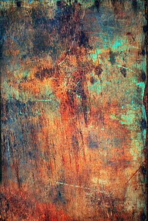 hammered: Old Wooden Plywood Panel Hammered Rusty Nails Edge Brown Green Paint Colored Vintage