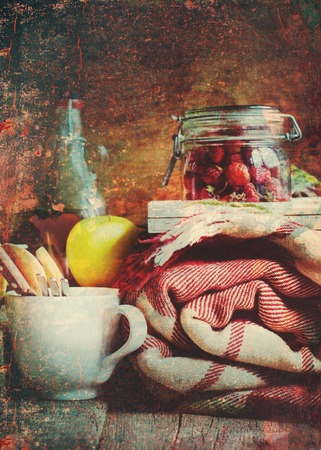 red oil lamp: Picnic Set Vintage Objects Dishes Fruits Plaid Composition Shabby Toned Effect Country Style