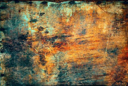 hammered: Old Antique Wooden Plywood Panel Hammered Rusty Nails Edge Brown Ginger Paint Colored Vintage