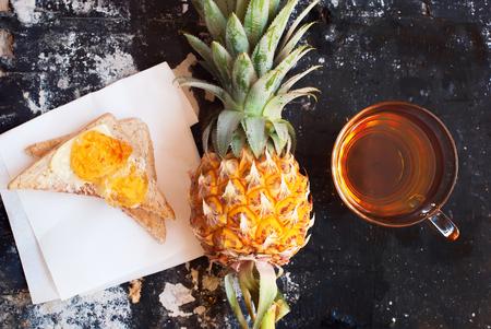 pine  fruit: Pine Apple Fruit Slice White Toast Topped Citrus Jam Tea Diet Healthy Breakfast Stock Photo