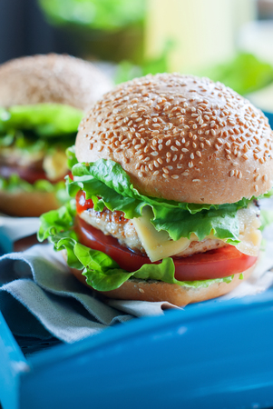 rustic food: Traditional Hamburgers Fast Food Unhealthy Concept Rustic Style