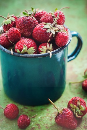 Strawberry Garden Rustic Cup Summer Food Green Metal Background Selective Focus