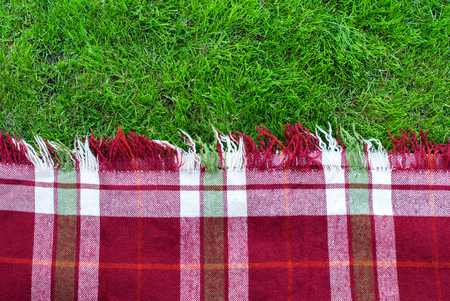 Checkered Plaid Picnic Green Grass Summer Time Background