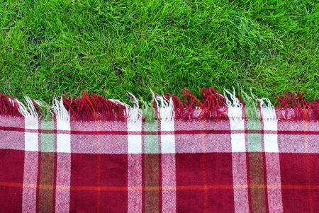 Checkered Plaid Picknick Green Grass Sommerzeit Hintergrund Standard-Bild - 61472379