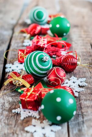 merry christmas composition red white green holiday fir tree toy decor star ball gift magic composition - Red White And Turquoise Christmas Decor