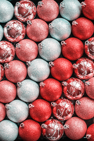 Brilliant Lustrous Silver Red White Scarlet Shine Color Balls Row Christmas New Year Background Texture Stock Photo
