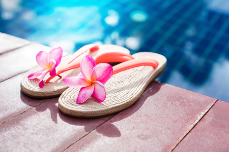 Slippers Pink Frangipani on Wooden Background near Swimming Pool Copy Space Tropical Resort