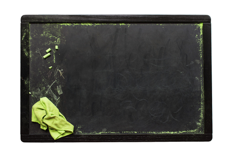 Concept Back to School Empty Chalkboard Chalk Duster Copy Space Dark Background Isolated on White