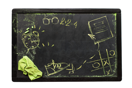 School Desk Sketches Symbols or Signs on Chalkboard Copy Space Dark Background Isolated on White