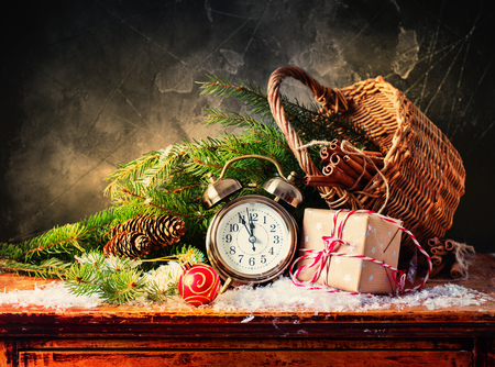 Festive Christmas Alarm Clock Boxes Ball Toy Basket Fir Branches Holiday Gifts Concept Vintage Style