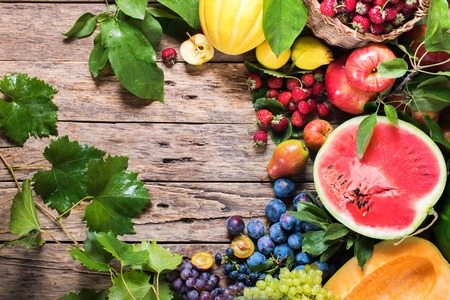 round: Assortment Organic Fruits Berries Apple Grape Strawberry Pear Damascene Water Melon Isolated on White Health Care Natural Concept
