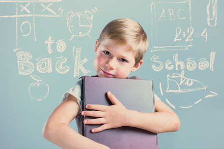 Portrait Cute Little Boy with Book Child Prodigy Chalk Symbol Board Copy Space Concept Back to School Toned Background Concept