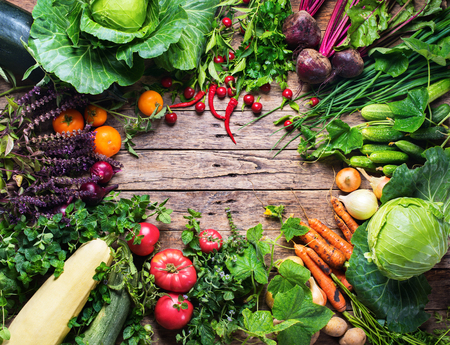 round: Assortment Fresh Organic Vegetables Round Frame Wooden Background Country Style Market Concept Local Garden Produce Clean Eating Dieting