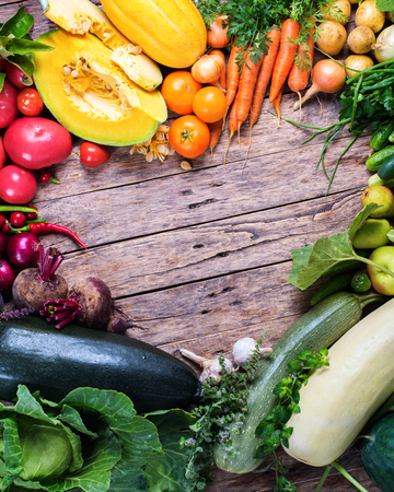 Assortment Fresh Organic Vegetables Frame Heart Wooden Background Country Style Market Concept Local Garden Produce Clean Food Eating Dieting Copy Space