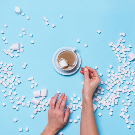 Hot Beverage Cocoa Scattered Marshmallows Candy Female Hands Blue Background Flat Lay Top View Winter Traditional Food Drink
