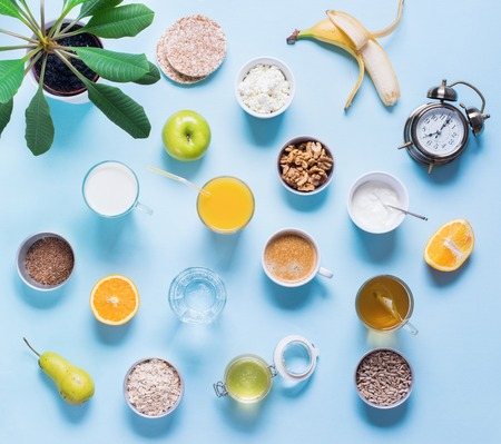 Useful Colorful Breakfast Coffee Milk Tea Fruits Cottage Cheese Oats Flat Lay Still Life Table Top View Blue Background Stock Photo