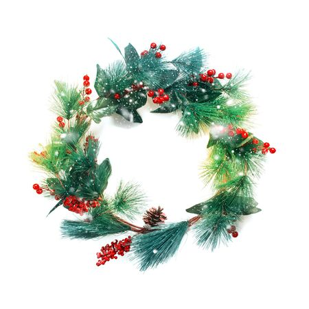 green pastel christmas decorative wreath with holly berries isolated on white background happy new year greeting - Pastel Green Christmas Decorations
