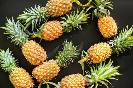 Ripe Whole Juicy Fruit Pine Apple Healthy Food Black Background Group Objects Stock Photo
