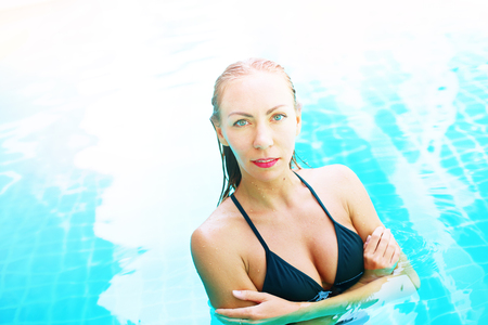 Portrait Beautiful Young Suntanned Woman Blonde Long Hair Bathing Suit Black Swimming Pool Resort Suntan Skin Holiday Vacation Outdoor
