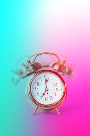 Ringing twin bell on retro classic alarm clock showing seven oclock. Copy space on vertical image. Concept back to school. Glitch modern effect. Vibrant duotone turquoise, violet colors Banco de Imagens