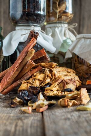 Assortment home made fruit pastille. Organic healthy dried pureed fruits on a wooden table Banco de Imagens