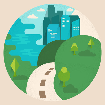 Stylized daylight cityscape.  Flat design vector illustration with grainy texture and geometric shapes. Square layout.