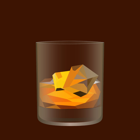 Whisky glass. Low poly and transparency vector design. Alcohol drink symbol. Restaurant or bar promotional banner. Vector illustration.