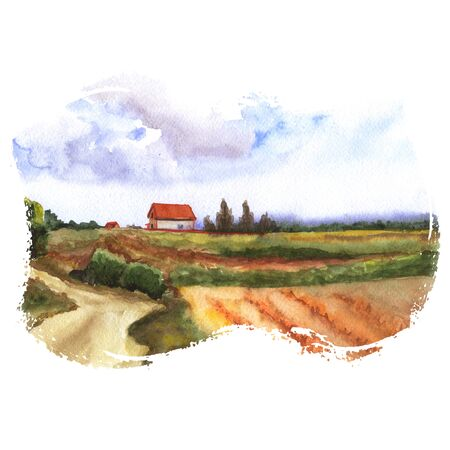 valley: Watercolor illustration of nature - a view of fields and a farm house with big clouds in the sky. Hand made painting.