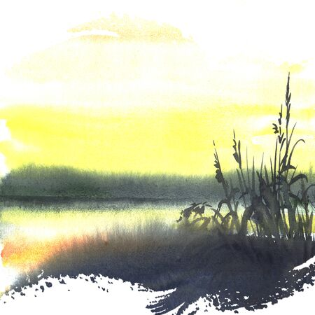 rivulet: Watercolor illustration of nature - yellow sunset on the river with reeds under the evening sunset light. Hand painting art. Stock Photo