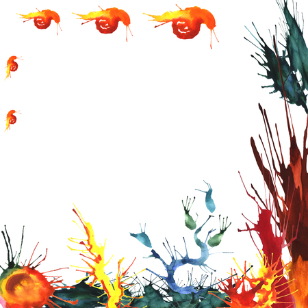 seaweeds: Watercolor illustration of colored seaweeds and corals with a family of fire snails. Hand made painting.