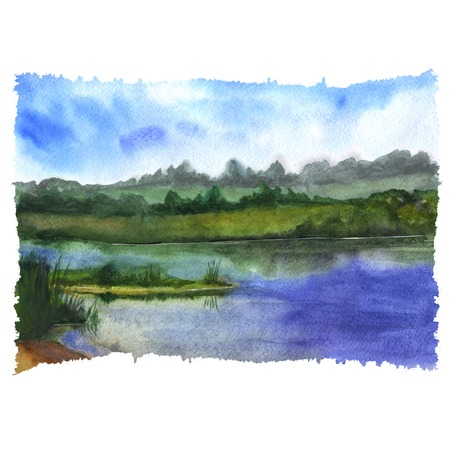 Watercolor illustration of nature - a silent river and blue sky and with some bushes and plants on coasts. Hand painting art.