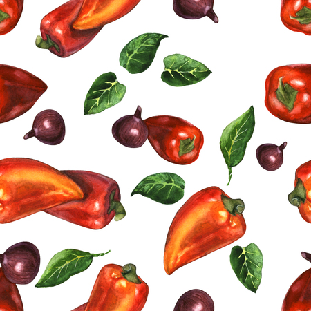 onions: Watercolor illustration of sweet peppers with red onions and leaves . Seamless pattern. Hand made painting.