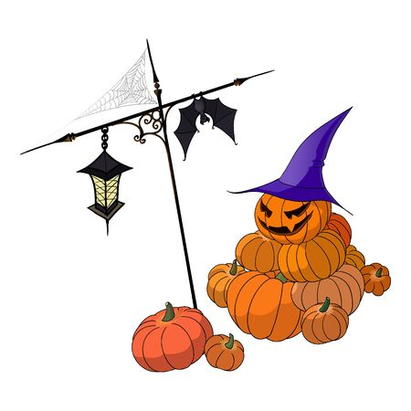 Vector illustration of several halloween pumpkins, a bat, a lantern and a web of spider. Hand made drawing. Illustration