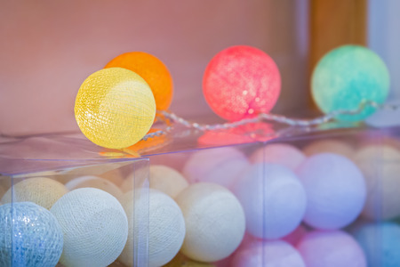 Cotton balls lights, creative decoration with colorful cotton light balls garland in home interior