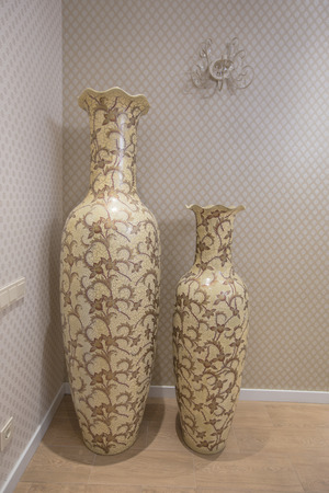 Two Large Antique Beige Vases Pitcher Standing In The Interior