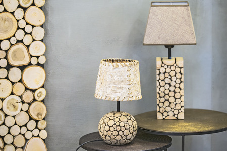 Wooden table lamp, a lamp made of wood spruce and birch bark. Modern original wooden lamp.