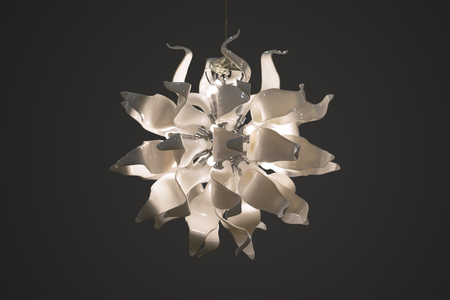 Chandelier, pendant lamp, white glass lamp in the form of flower petals. Isolated white original lamp on a gray background.