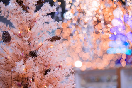 Christmas background. An artificial pink tree. New year Stock Photo