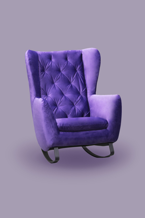 Comfortable fashionable rocking chair, purple sofa, isolate.