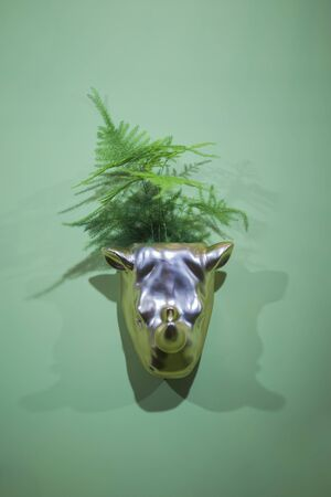 Planter, silver flower pot in the shape of a rhino head. Interesting flower pot design.