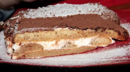 Tiramissu. Sweet chocolate dessert with cream and powdered sugar.