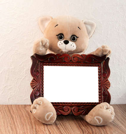 A toy cat with a wooden frame in its paws.