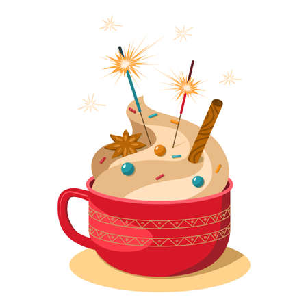 Vector illustration of a cozy red cup of hot chocolate with topping, confetti and sparklers. Merry Christmas and Happy New Year. Can be composed and used for postcards, invitations, stationery, textil