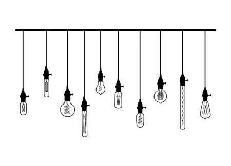 Hand drawn vector set of different geometric loft lamps with yellow glow. 일러스트