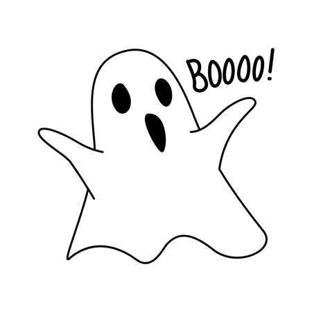 Ghost in doodle drawing style. Halloween icon. Vector illustration 矢量图像